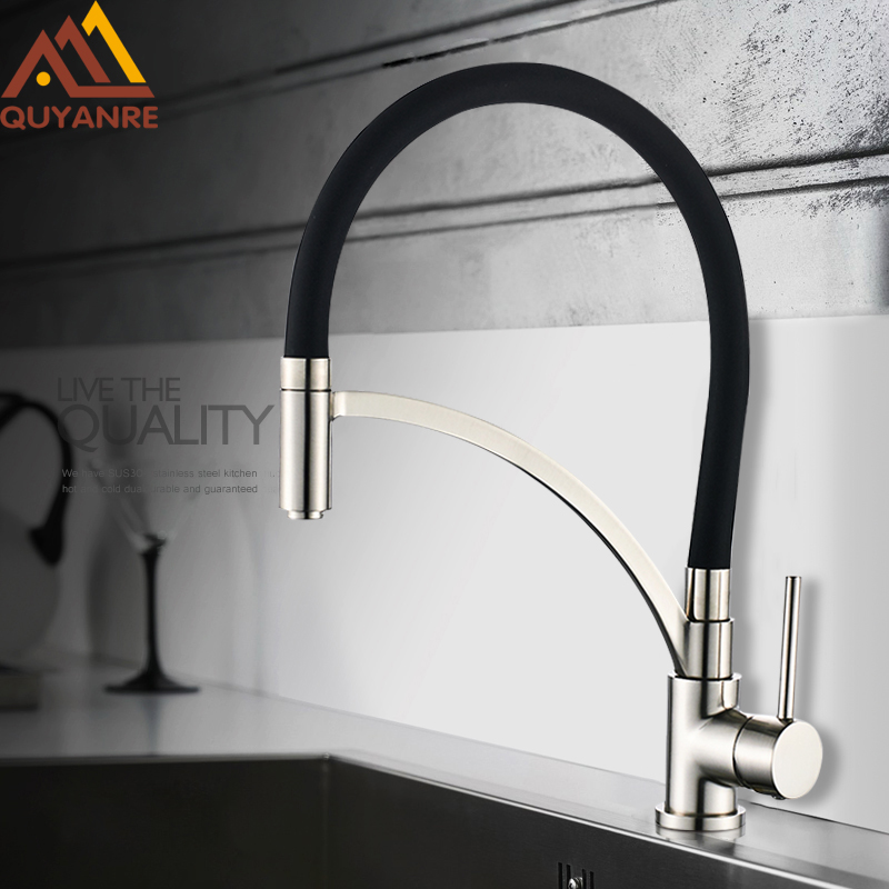 Quyanre Chrome Nickel Pull Out Kitchen Faucet Black Rubber Single Handle Mixer Tap Pull Out Spray 360 Rotation Kitchen Faucet new arrival pull out kitchen faucet chrome black sink mixer tap 360 degree rotation kitchen mixer taps kitchen tap
