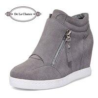 Black Grey Women Shoes Platform 2016 Hidden Heel Wedge Boots Shoes For Women High Heel Top Suede Casual Ladies Shoes Size 35 39