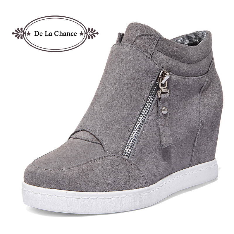 Black Grey Women Shoes Platform 2016 Hidden Heel Wedge Boots Shoes For Women High Heel Top  Suede Casual Ladies Shoes Size 35-39 2018 wedge high heels thick soled high top ladies casual shoes women platform canvas shoes hidden wedge heel boots zapatos mujer