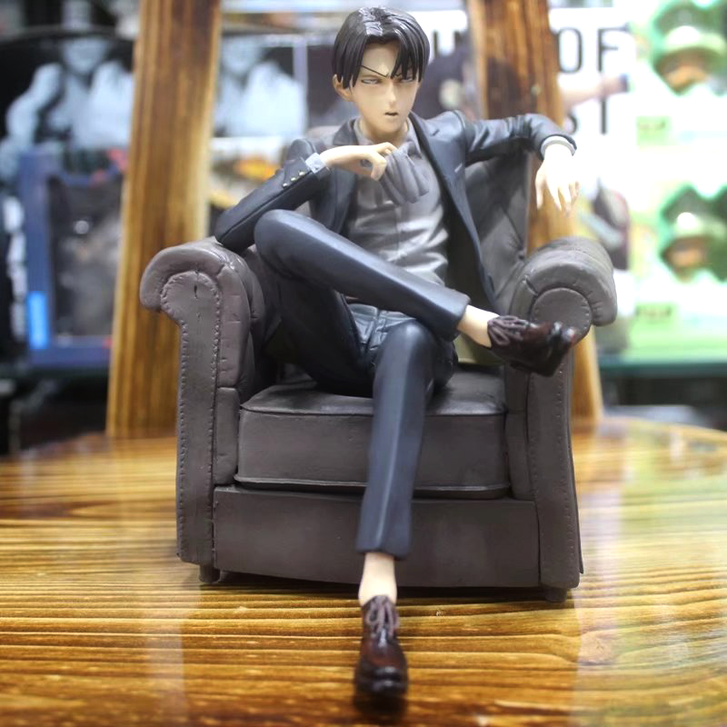 Free Shipping 6″ Attack on Titan Anime Levi Ackerman Sofa Sitting Boxed 16cm PVC Action Figure Model Collection Doll Toys Gift
