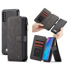 Multifuncional carteira caso de telefone para huawei p30 lite p30 pro caso com zíper flip couro capa magnética para huawei companheiro 20 pro caso