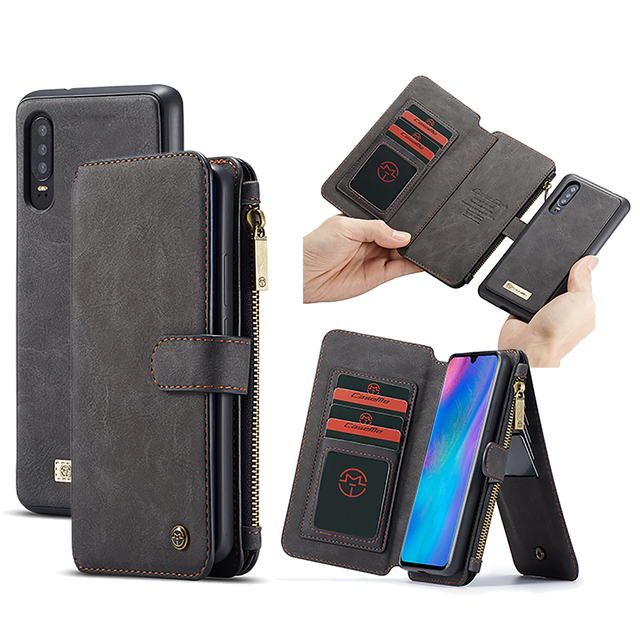 Çok fonksiyonlu cüzdan telefon kılıfı için Huawei P30 Lite P30 Pro fermuar çevirme deri manyetik kapak için Huawei Mate 20 Pro kılıf