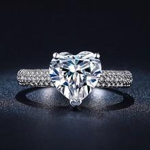 2017 NEW Big Heart Wedding Rings For Women 925 Silver AAA Zircon rings Jewelry women Engagement Bijoux Accessories