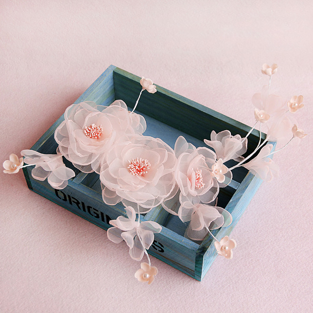 Handmade Rosa Spitze Krepp Blume Hochzeit Kopfschmuck Haarspange