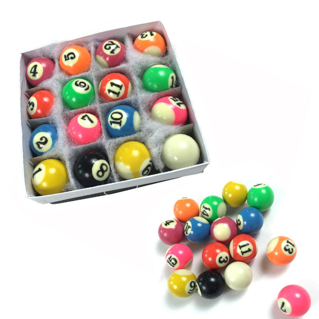 Genial Promotion Colorful 25mm Hard Resin Full Set Billiard Balls For Children Pool  Table 16pcs Kids Complete