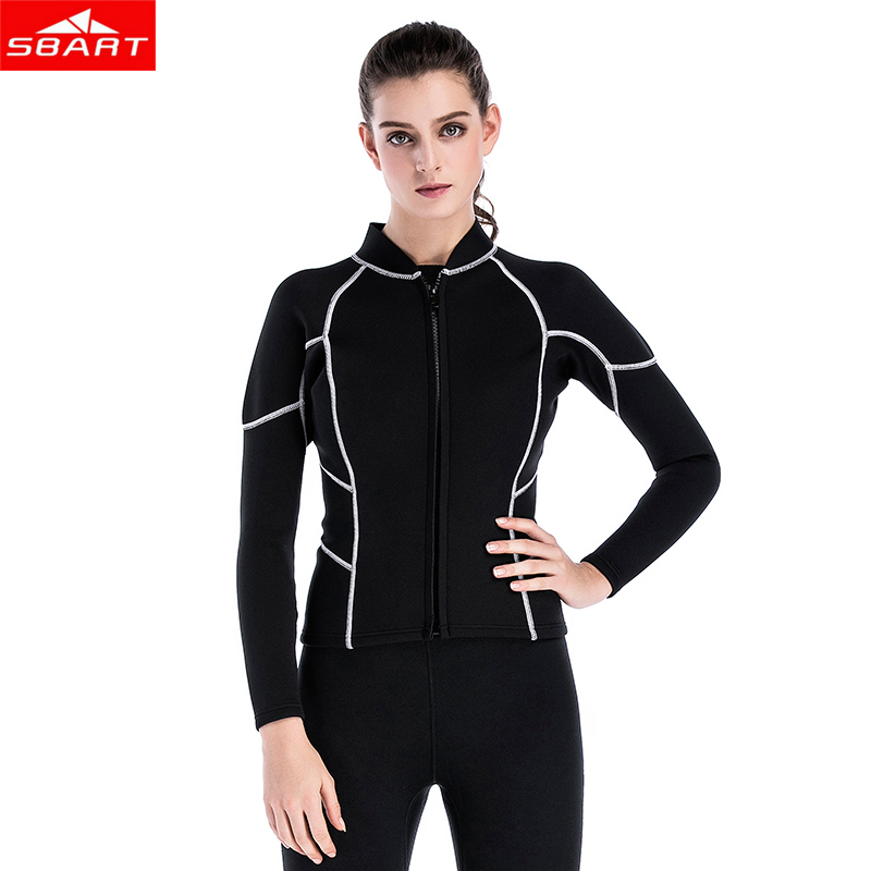 Sbart Winter Women 2mm Elastic Diving Jacket neoprene swimsuit Split surf Warm stretch soft Tops swimming snorkel sbart 303