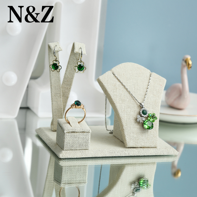 N&Z New Cream Linen Jewelry Display For Earrings/Ring/Necklace/Pendant Stand Holder Earrings Display Ring Jewelry Display Pack