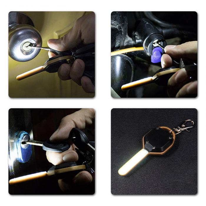Mini LED Flashlight Light Mini Key Shape Keychain Lamp Torch Emergency Camping Light DTT88