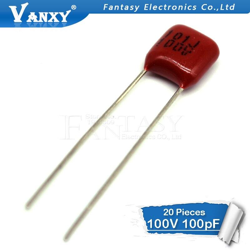 20PCS 100V101J  100V 100PF 100P 100V 101 63V101J Pitch 5MM CBB Polypropylene Film Capacitor