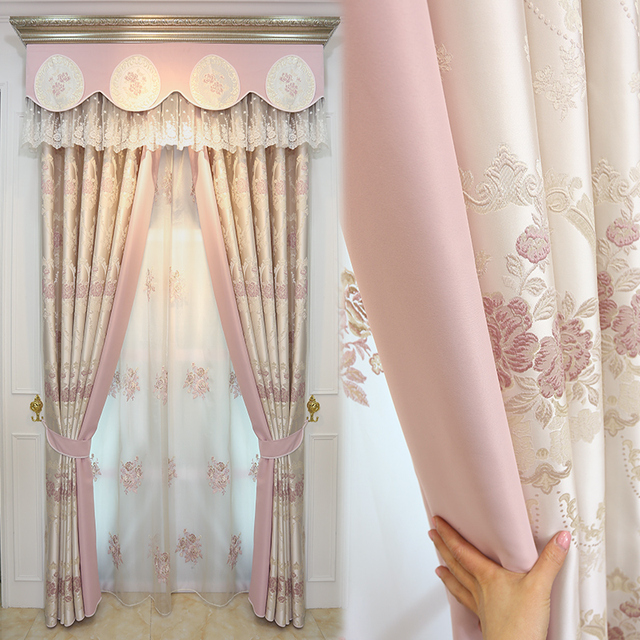 Custom Curtains Luxurious Modern European Living Room Curtains Fine  Jacquard Romantic Pink Cloth Blackout Curtain Valance