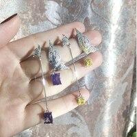 New Design Asymmetric And Yellow Earrings For Women Trendy Bijoux Rhinestone Butterfly Planet Pendientes Hot Women