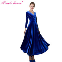 Simple Flavor Women Long Dress Hot Sale 2018 New Spring Summer Russian V Neck Style Solid