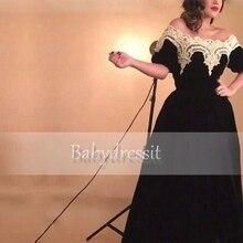 Elegante Weg Von der Schulter Kurzarm Lange Abendkleider A linie Boot-ausschnitt Frauen Samt Formalen Kleid Schwarzen Arabischen Abendkleid kleider
