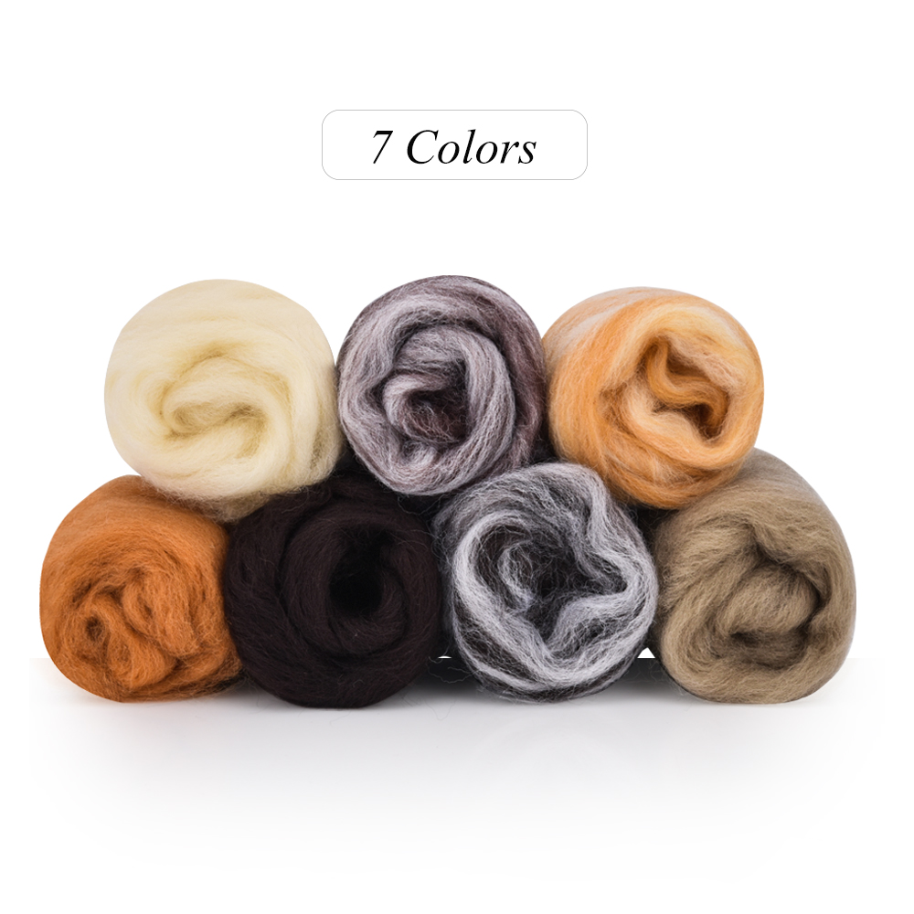 DIY 7 Color Needle Felting Wool Felt Craft Kit Starter Needlework Accessories Soft Fabric Yarn Roving Animal Doll Sewing