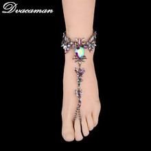 Dvacaman Sexy Leg Chain Female Boho Color Crystal Anklet women Ankle Bracelet Wedding Barefoot Sandals Beach Foot Jewelry 6107