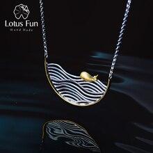 לוטוס כיף אמיתי 925 כסף סטרלינג בעבודת יד חג המולד תכשיטים יצירתי שחייה דגי שרשרת לנשים Acessorio קולייר