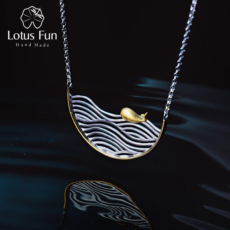 Lotus Fun Real 925 Sterling Silver Handmade Designer Fine Jewelry Creative Swimming Fish Necklace for Women Acessorio Collier