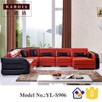 Çin kaliteli tedarikçisi büyük sürü mobilya deri köşe kanepe S906, deri kanepe