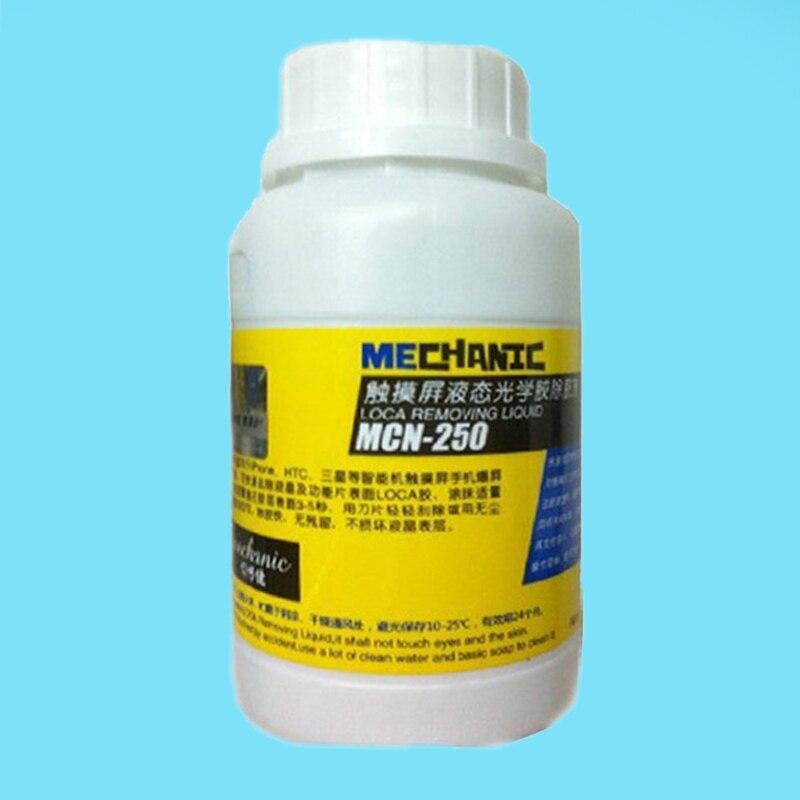 Livraison gratuite 250 ml Mécanicien MCN-250 LCD uv colle remover pour LOCA colle samsung iphone et autre écran séparateur mahine