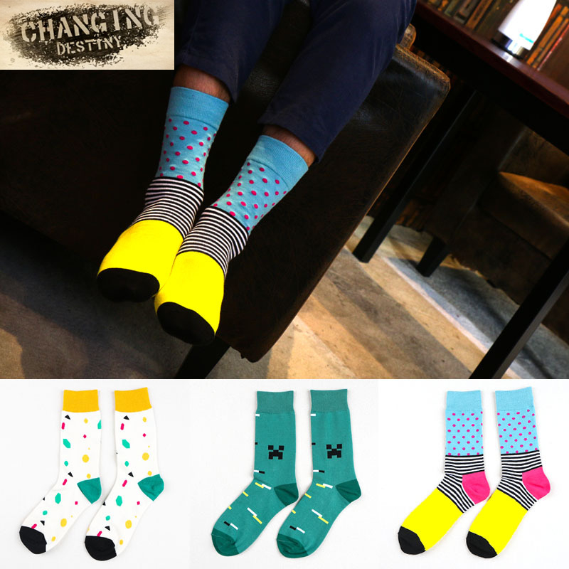 2017 Fashion Handsome Cotton Men Socks Tube Tide Male Socks Gentlemens Socks of Literature and Art
