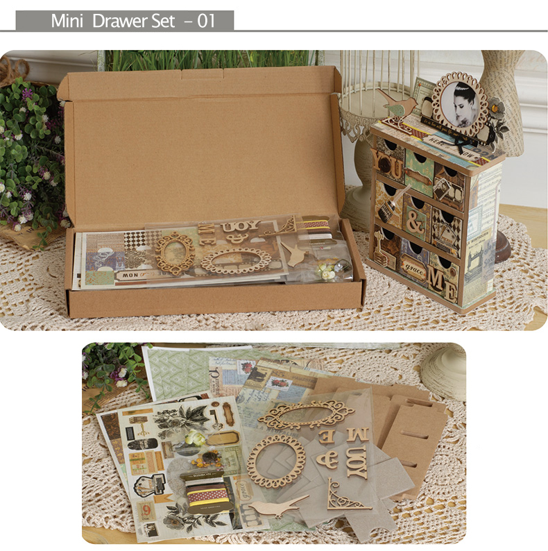 New Wooden 3 drawer unit mini chest craft scrapbooking 30cm paper storage box