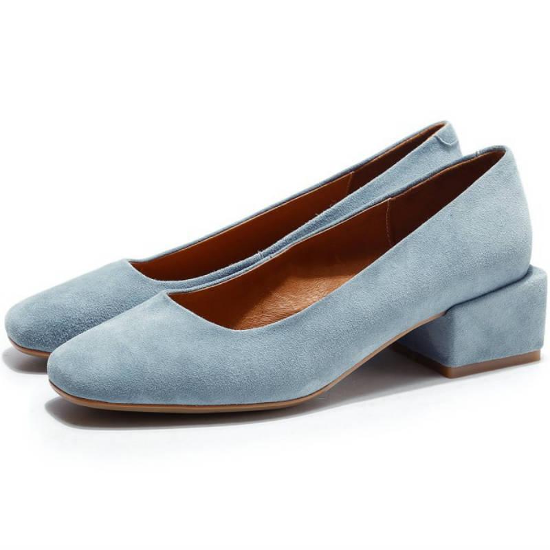 ФОТО 2017 summer Square toe Real sheepskin women 4cm low heel shallow shoes ladies England style genuine leather high heels pumps