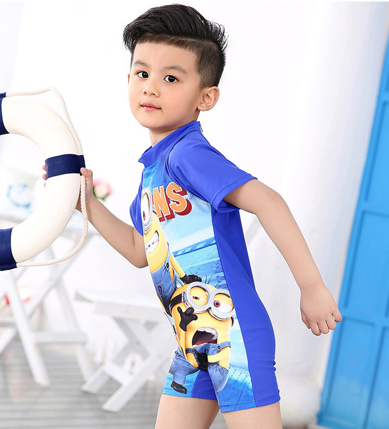 2018 New swimwear boys hooded short-sleeve cartoon  Children piece swimsuit kids Swimming suit Beach Swimwear