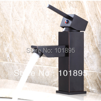 L15686 - Luxury Deck Mounted Black Color Brass Material Square Basin Tap