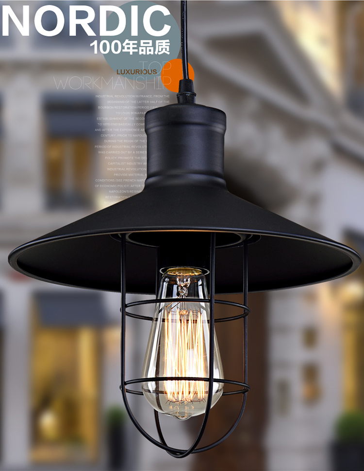 ФОТО Nordic style Pendant light black color industrial style for Parlor Study dining room bar loft 27cm in diameter 25cm in height