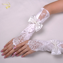 The bride wedding gloves fingerless satin lace embroidered beige white bow G028
