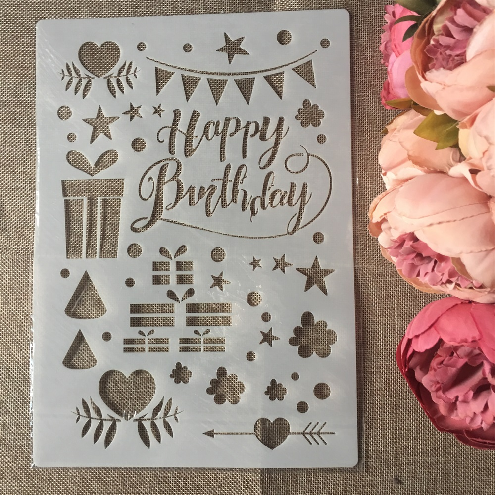 1Pcs A4 Happy Birthday DIY Layering Stencils Wall Painting Scrapbook Coloring Embossing Album Decorative Paper Card Template