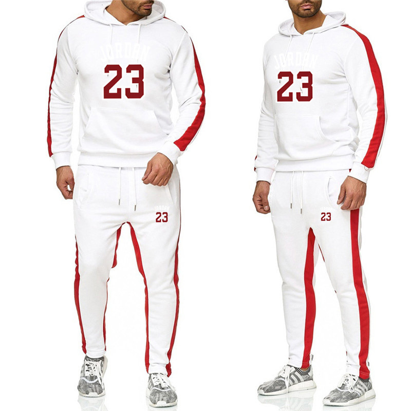 New 2019 Brand Tracksuit Fashion Men Sportswear Two Piece Sets All Cotton Fleece +Pants Sporting Suit