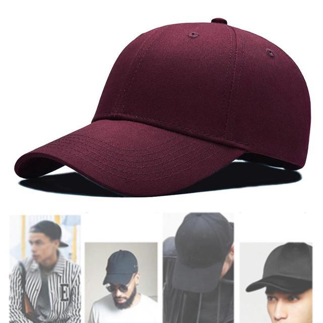 552120ec1f7 1 Piece Baseball Cap Men s Adjustable Cap Casual Unisex hats Solid Color  Fashion Snapback Summer Wine Red Fall hat
