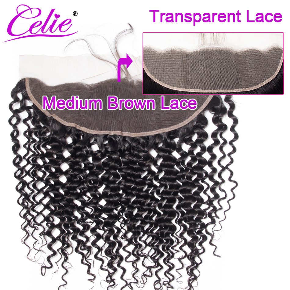 Celie Brazilian Curly HD Lace Frontal Closure 13x4 Swiss Lace Transparent Frontal Closure Ear To Ear