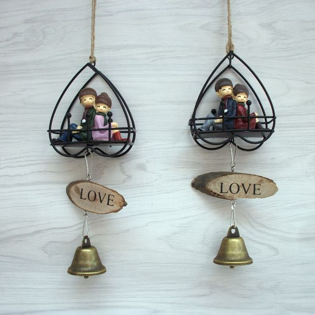 Lovely Couple Wind Chime Metal Heart House Garden Outdoor Home Decor Bell Pendant For Car