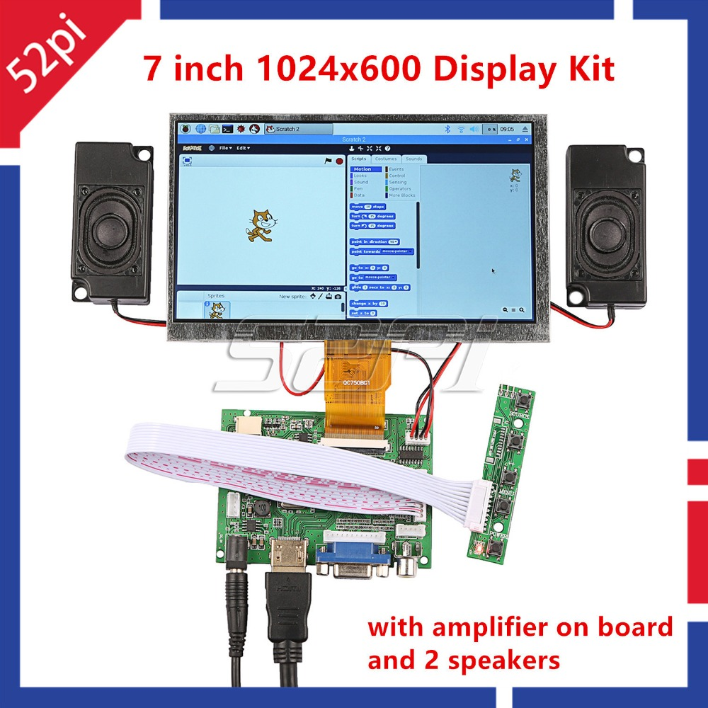 52Pi New 7 inch LCD 1024 600 Display Monitor Screen Kit with Amplifier and 2 pcs