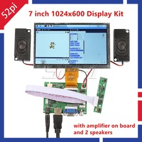 52Pi New! 7 inch LCD 1024*600 Display Monitor Screen Kit with Amplifier and 2 pcs Speakers for Raspberry Pi 4 B All Platform/ PC|display monitor|lcd monitor 7 inch|lcd display monitor -