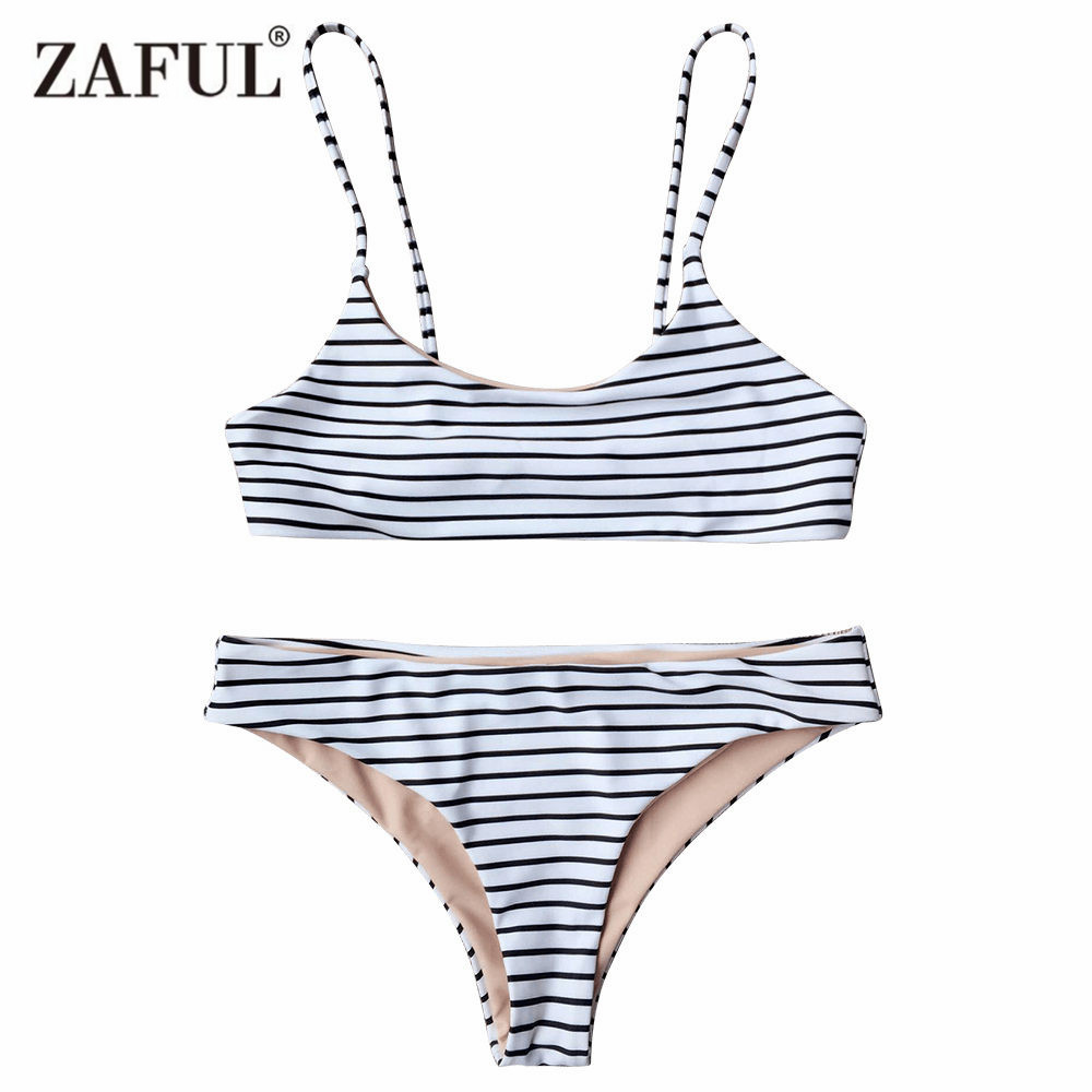 Zaful 2018 New Women Striped Cami Bralette Bikini Set Sexy Low Waisted Spaghetti Straps Two Pieces swimsuit female swimwear striped print color block cami dress