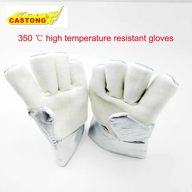 high temperature resistant splash resistant anti cold leather lengthened thickened welding gloves fireproof work safety gloves Fireproof glovesNFRR 350 degrees high temperature resistant gloves aluminum foil heat insulation anti-scald cutting safety glove