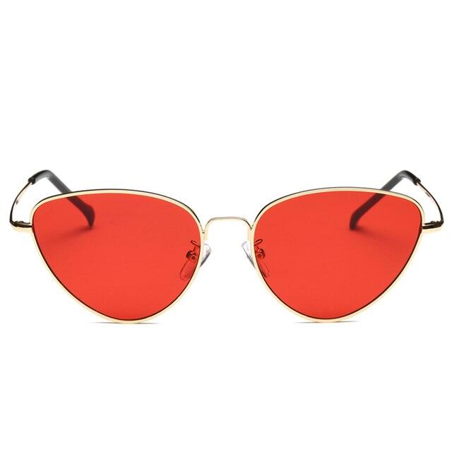 bd6985aca Lente de óculos de Sol Retro Cat Eye Sunglasses Mulheres Amarelo Vermelho  Peso Leve Moda Óculos