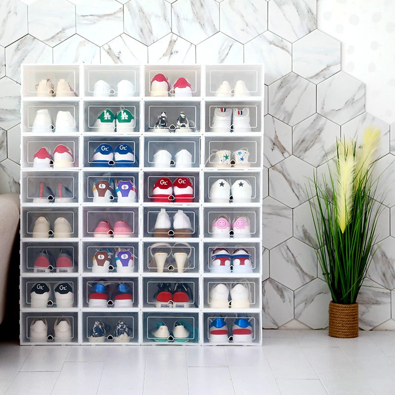 Image 3 - 6pcs Foldable Plastic Shoe Boxes Universal Home Organizer Stackable Storage Drawer Transparent Home Holding Box-in Storage Boxes & Bins from Home & Garden