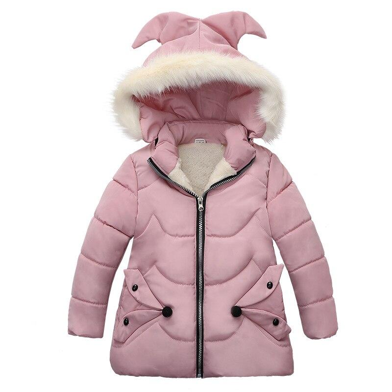 الشتاء الدافئة رشاقته الفراء طوق طويل الطفل معطف الأطفال قميص الصوف Windproof بطانة الطفل الفتيات الستر 100 120 سنتيمترالسترات الواقية والقمصان التحتيةالأمهات والأطفال -