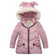 Winter Warm Thicken Bontkraag Lange Kind Jas Kinderen Bovenkleding Winddicht Fleece Liner Baby Meisjes Jassen Voor 100 120cm