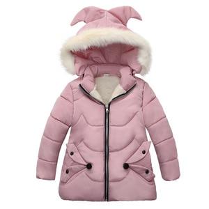 Image 1 - Winter Warm Thicken Fur Collar Long Child Coat Children Outerwear Windproof Fleece Liner Baby Girls Jackets For 100 120cm