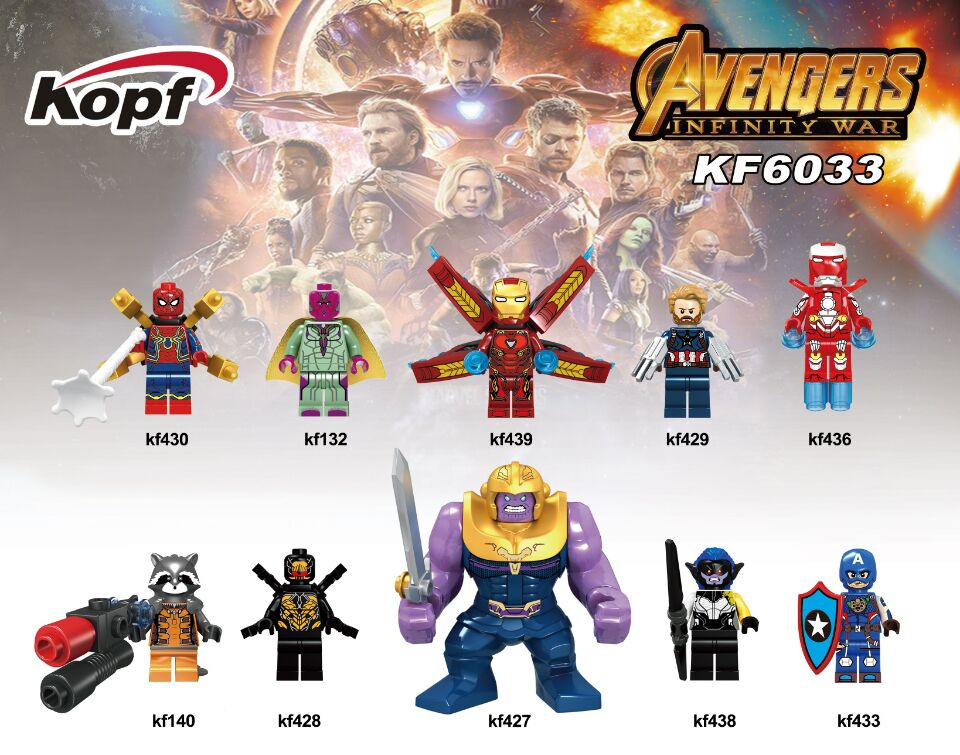 Single Sale Super Heroes Avengers INFINITY WAR Vision Rocket Thanos Captain America Building Blocks Children Gift Toys KF6033