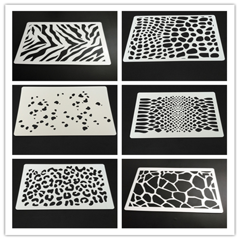 Animal Print Stencils,Zebra,Leopard,Snake,dalmatian Print For Chalk Paint,Acrylic Paint,Scrapbook,set Of 6pcs,19*13.2cm