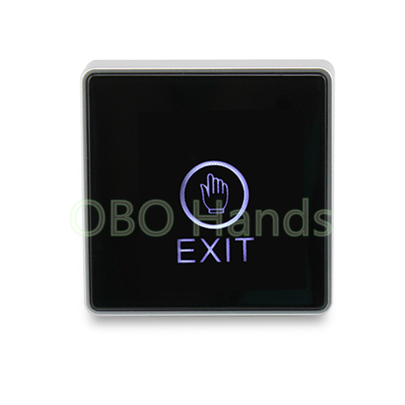 Free shipping touch screen Door Exit Button Switch With LED Light push button switch black door release for home security alarm bqlzr dc12 24v black push button switch with connector wire s ot on off fog led light for toyota old style