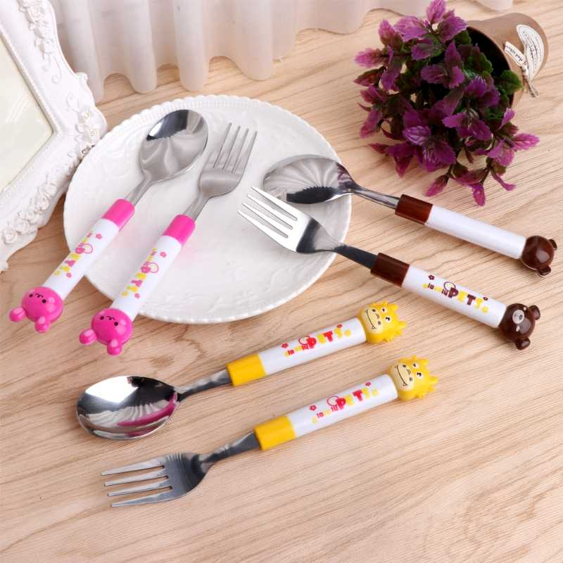 Baby Love 2Pcs Cartoon Baby Safety Stainless Steel Spoon Fork Set Kids Feeding Tableware Convenient