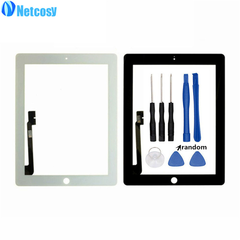 Netcosy Black /White For ipad 3 & 4 Touch screen digitizer panel replacement parts for ipad 3/4 Touchscreen +Tools replacement lcd digitizer capacitive touch screen for lg vs980 f320 d801 d803 black