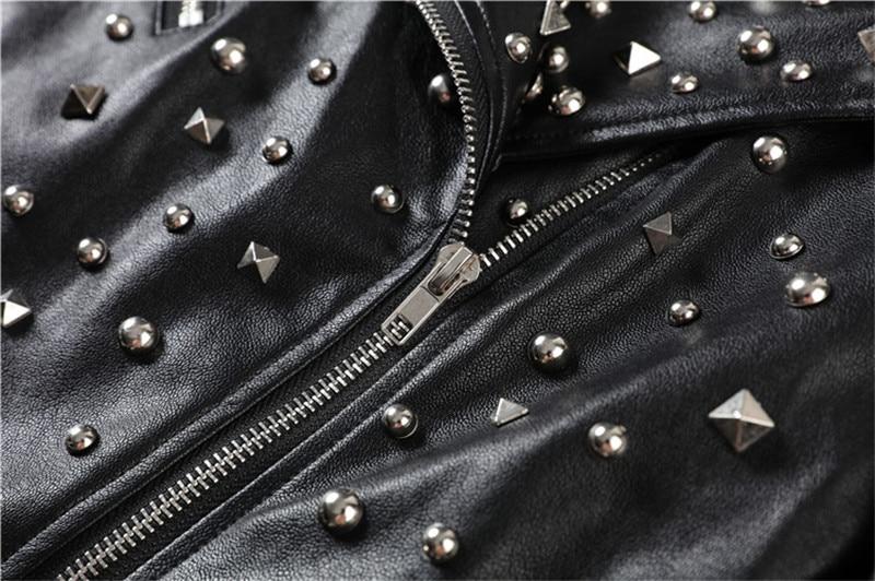 Noir Court L'industrie Locomotive Et Punk Lourde 18 Automne Rivet En Pu Veste Cuir Femme D'hiver wqOUCT